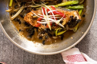 Image of fish cooked with tausi (fermented soybeans)