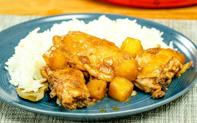 Chicken Adobo with Pineapple and rice in a plate